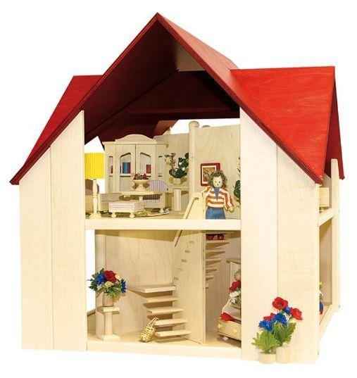 Casa delle bambole in legno singola di rulke holzspielzeug - Casa delle bambole in legno ikea ...