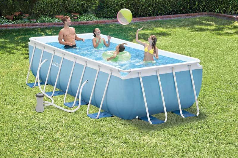 Piscina intex 28316 prism frame 400x200x100 fuoriterra con for Filtro piscina intex