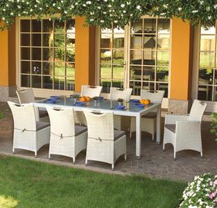 Set pranzo SET DINING SET DJERBA 210x110 piano vetro temperato + 6 SEDIE + 2 POLTRONE DSO14