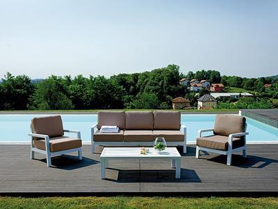 Salotto da giardino esterno SET COPACABANA divano 3 posti 2 poltrone tavolino SET 19