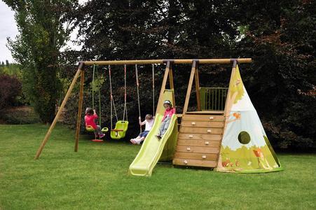 Area giochi per bambini da giardino FORT JUNGLE 2 altalene cavalluccio arrampicata e scivolo con scaletta AGL1368