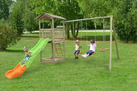 Area giochi per bambini da giardino YELLOWSTONE 2 altalene cavalluccio scivolo con torretta scaletta e sabbiera AGM1372