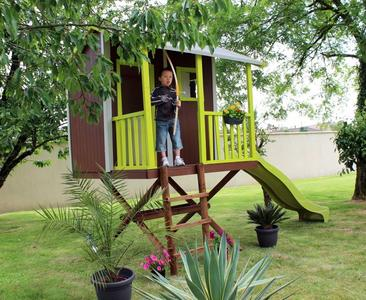 CASETTA in legno per bambini JUNGLE grezza ALTEZZA 290 CM con scaletta terrazzino con ringhiera e scivolo COD. CL13.85