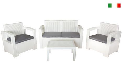 Set salotto da giardino in polipropilene TEXAS FILIPPO BIANCO resina rattan da giardino bar con divano 2 poltrone e tavolino e cuscini
