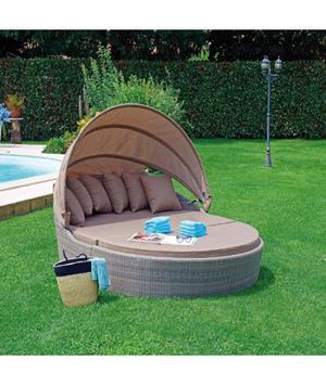 Lettino da giardino relax con tettuccio MEGA OASI in wicker GRIGIO