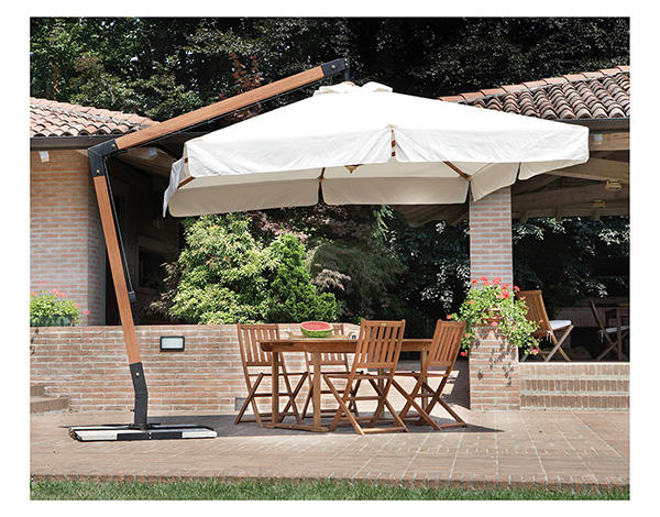 Ombrellone quadrato mod 4003 palo laterale in legno mt for Tavoli e ombrelloni da giardino