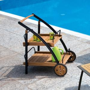 Carrello da giardino con ruote portavivande in legno teak e alluminio TRT70