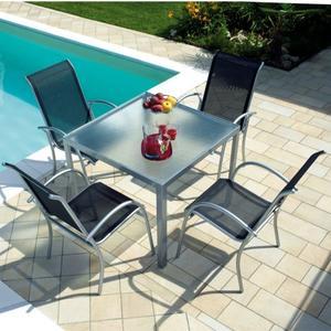 Tavolo tavoli Amalfi 90x90 cm piano vetro temperato alluminio argento STY11
