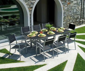 TAVOLO da giardino RAVELLO allungabile 150/210 x 90 cm in alluminio SILVER-NERO cod.RTY16