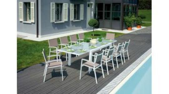 TAVOLO da giardino POGGIBONSI 160/280 x 100 cm alluminio bianco con piano in vetro milk RTA 29