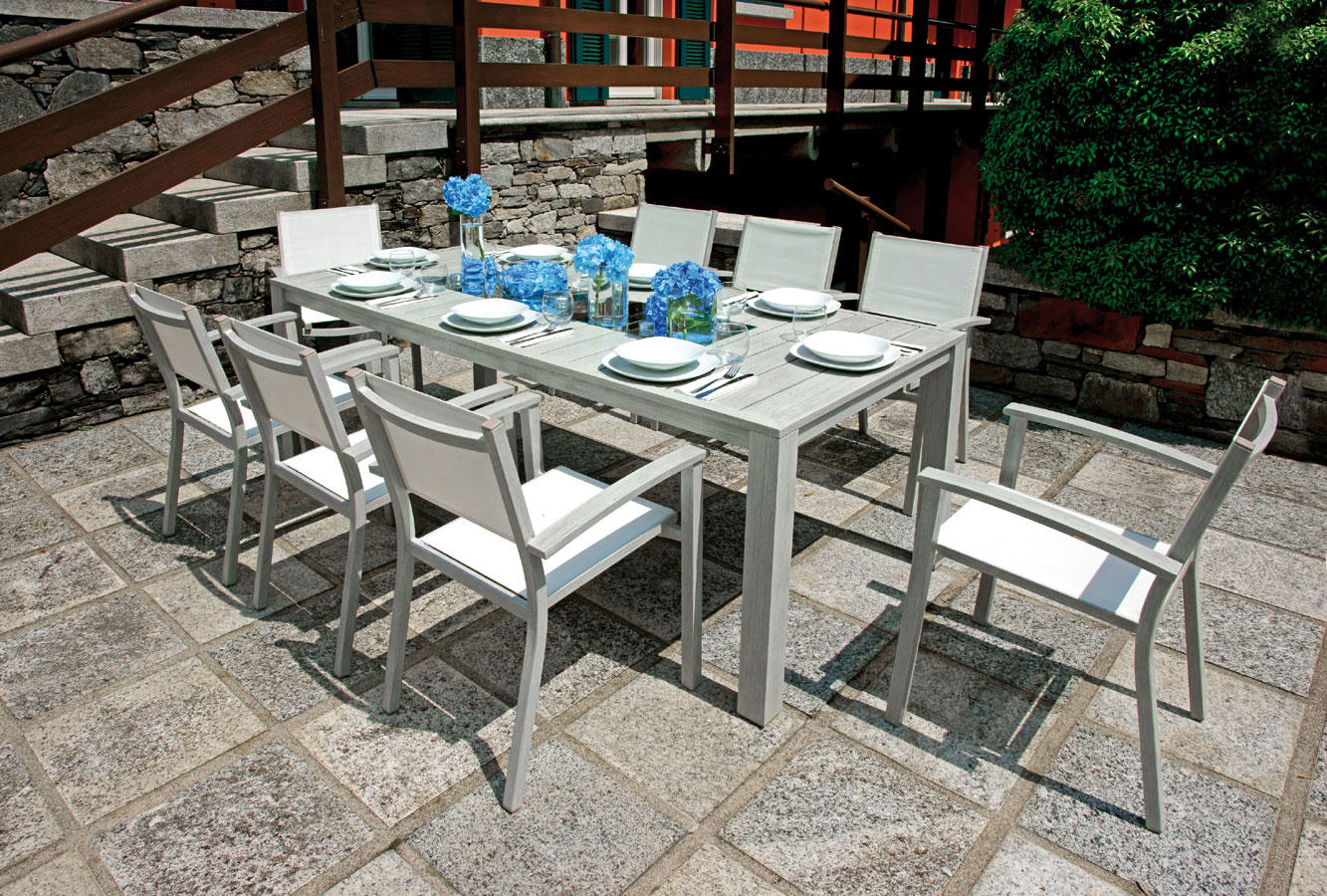 Tavolo pozzuoli 215 x 100 cm alluminio colore legno for Amazon arredo giardino