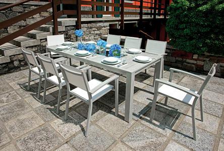 TAVOLO da giardino POZZUOLI 215 x 100 cm alluminio colore legno sbiancato RTA 27