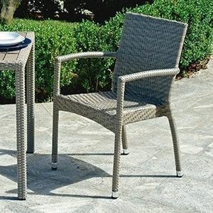 Sedia da giardino LE HAVRE Impilabile Con Braccioli Wicker Color AVANA CHW 52A
