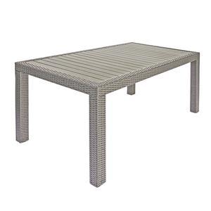 Tavolo da giardino BORDEAUX fisso 150x90 piano resin wood rattan sintetico avana RTW 56A