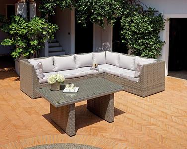 Salotto angolare SET AGRIGENTO con tavolo wicker color Grigio SET 59