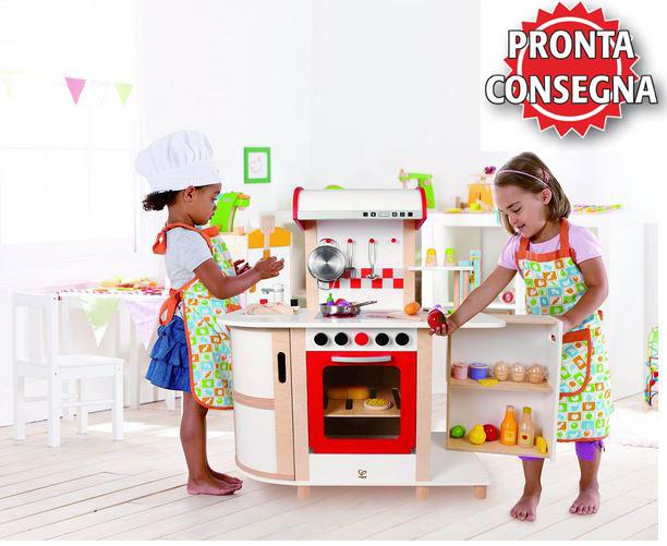 Cucina multifunzione per bambini in legno hape offerta for Cucina legno bambini amazon