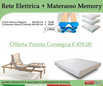 Offerta Kit  Rete Elettrica Maggiore 80x190 + Materasso Memory Butterfly 80x190 - Ergorelax