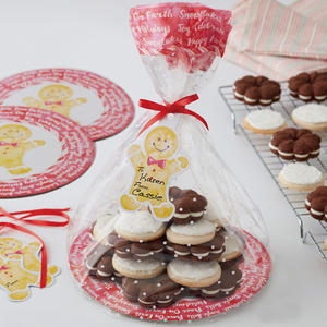 Set 4 sacchetti con vassoio e targhette ginger per dolcetti Natale