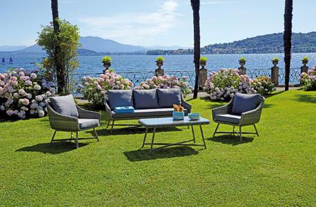 Salotto da giardino COFFEE SET TOLEDO gambe color legno wicker grigio melange 2 poltrone  1 divano 3 posti 1 tavolino SET 67