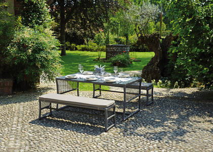Set da pranzo DINING SET VILLASIMIUS  2 panche  1 tavolo 160 x 90 in wicher grigio DS 05