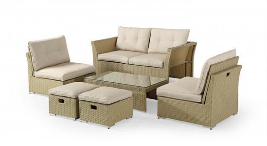 Salotto da giardino TINTORETTO in alluminio e rattan sintetico divano 2 poltrone tavolino e 2 poggiapiedi