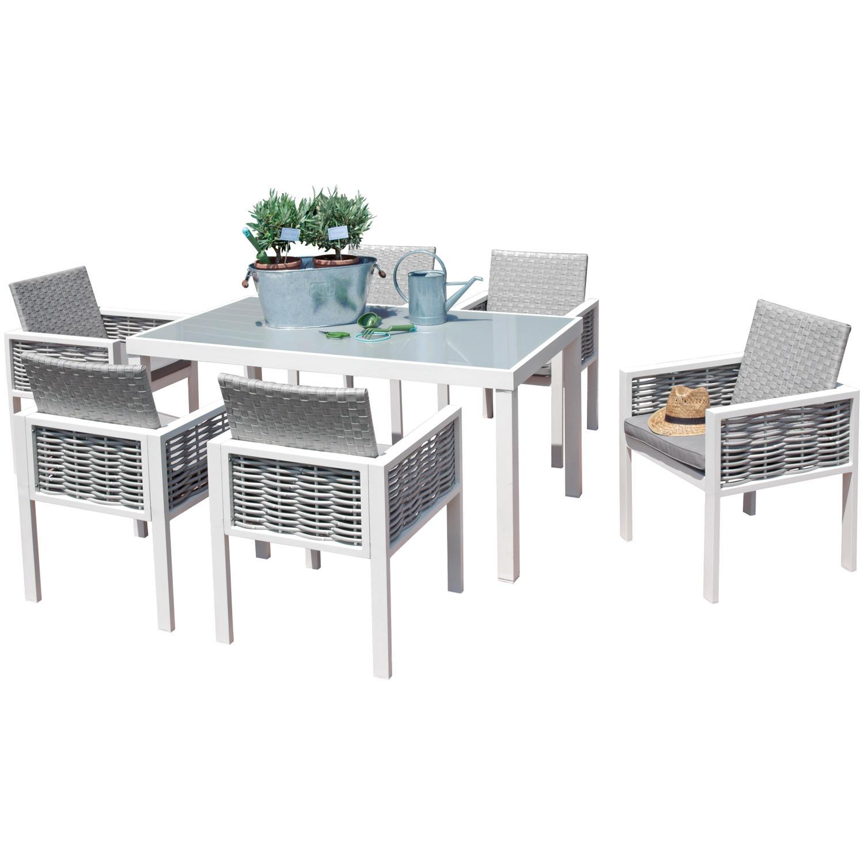 Set da esterno con 6 sedie alluminio e rattan e tavolo ...