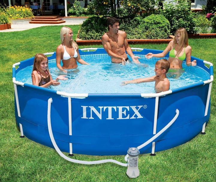 Intex piscina fuori terra frame 305x76 cm pompa filtro for Piscina intex rotonda