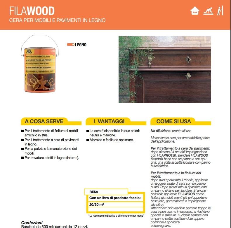 Filawood neutra 500ml cera solida per legno lucidante o - Cera per pavimenti in legno ...