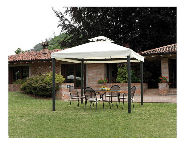 Gazebo professionale con tende esagonale quadrato 3 x 3 for Piani gazebo con camino