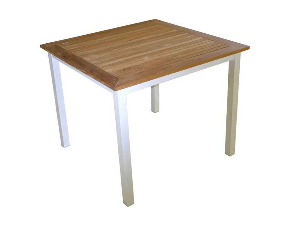 Tavolo da esterno con struttura in alluminio e piano in legno teak prodotto da giardino - Larghezza tavolo ...