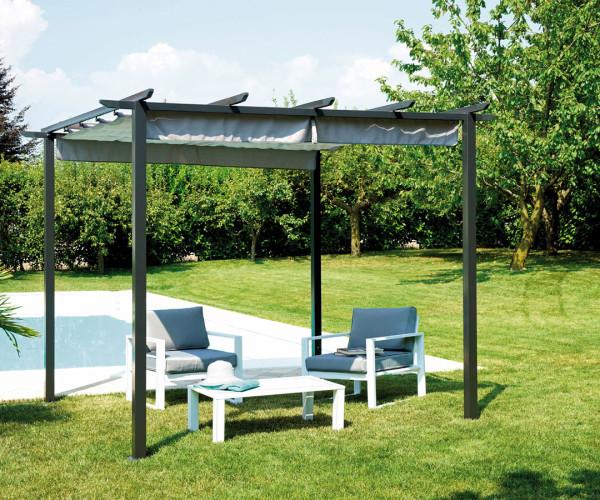 Pergola con struttura in ferro epoxy antracite 73x73 mm e - Pergola da giardino ...