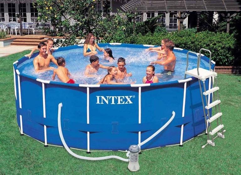 Piscina intex 54946 metal frame rotonda cm 457x122 con for Accessori piscine intex