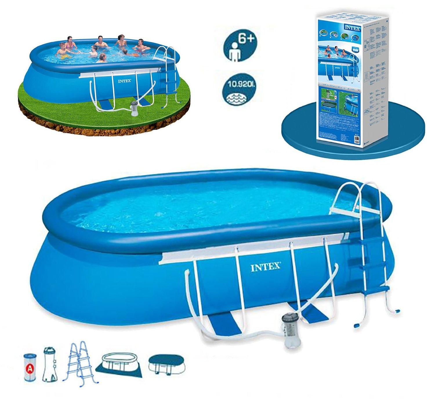 Piscina ovale autoportante intex 54432 cm 549x305x107 con for Piscine portante