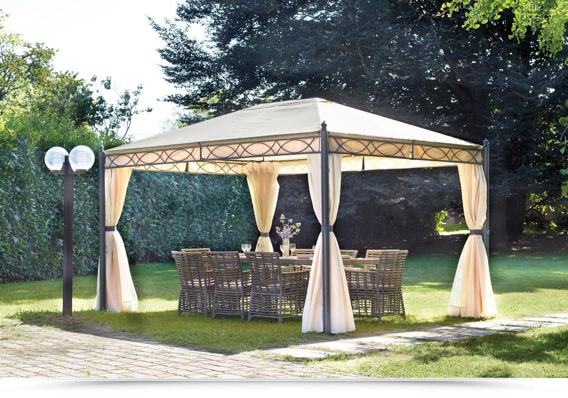 Gazebo 3x4 in ferro da giardino completo di tende laterali for Gazebo da giardino