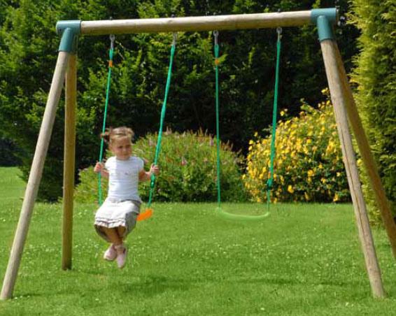 Altalena da giardino per bambini doppia in legno 2 posti iris l 2 70 x p 1 90 x h 1 90 m - Altalena da giardino per bambini ...