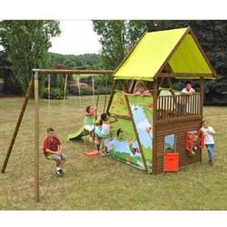 Area giochi per bambini giardino MAHORI 2 altalene + cavalluccio + scivolo h cm 250+ casetta in legno con porta e finestra + vano nascondino + terrazzino con ringhiera COD. AGL1371