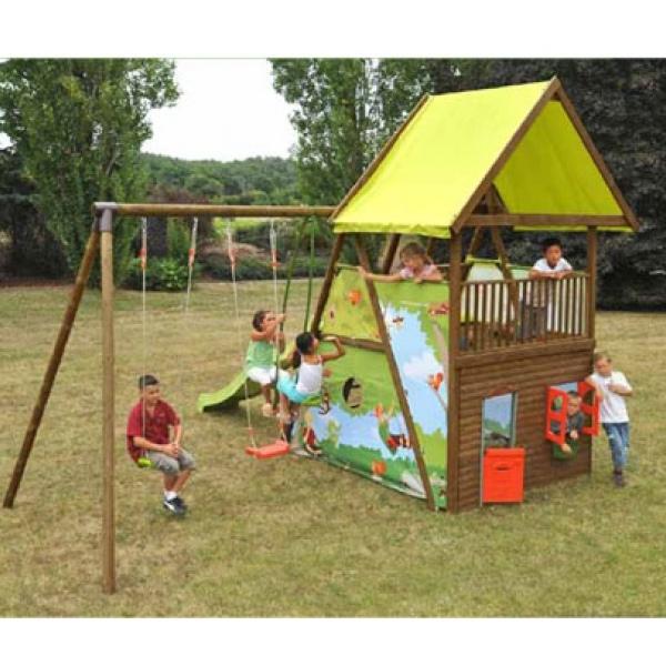 Area giochi giardino mahori 2 altalene cavalluccio - Ringhiera in legno per giardino ...