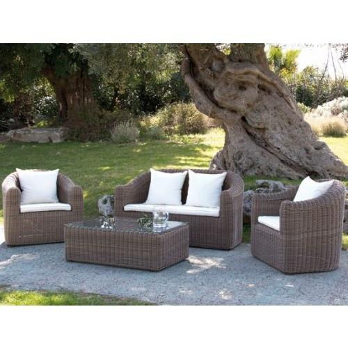 Salottino salotto da giardino mod lipari in polyrattan for Arredo giardino cuscini