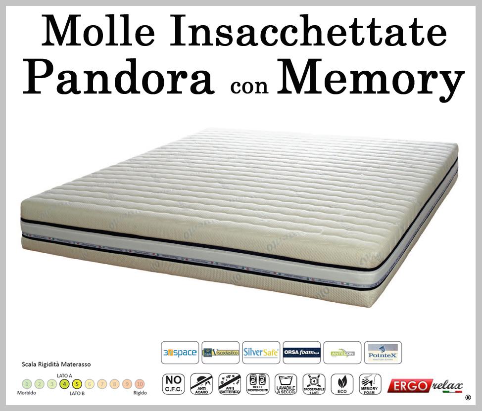 Materasso Molle Insacchettate Mod. Pandora Singolo 80 con Memory Sfoderabile in Argento - ErgoRelax