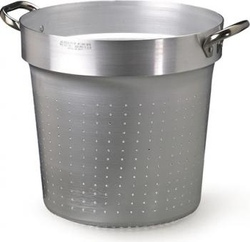 Colapasta cilindrico da inserire in pentola alta con maniglie fisse inox 3 mm diam 32 altezza 31