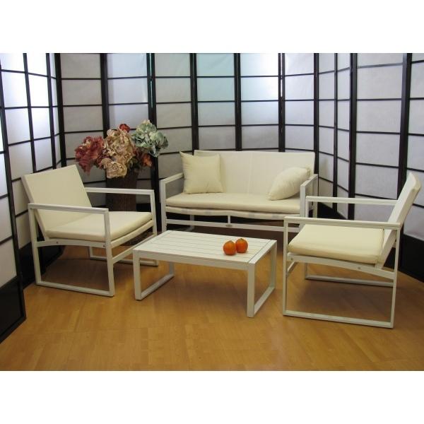 Salotto 4 pezzi da giardino per esterno textilene for Salotto bianco