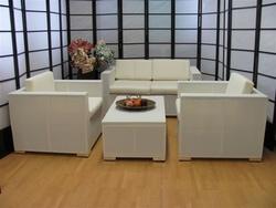 Salotto 4 pezzi da giardino per esterno textilene alluminio Passionale bianco