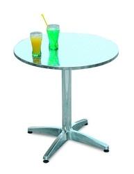 Tavolo Bar professionale rotondo diametro 70 in alluminio e acciaio 1 gamba 4 piedini