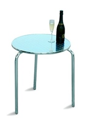 Tavolo Bar professionale rotondo diam 60 impilabile in alluminio e acciaio impilabile 3 gambe TC05