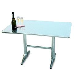 Tavolo Bar professionale rettangolare 70 x 110 in alluminio e acciaio 2 gambe TC17