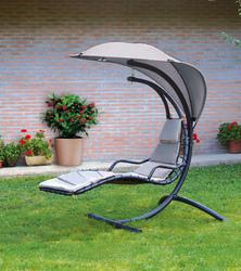 Dondolo lettino da giardino relax FOGLIA supporto metallo telo poliestere textilene tortora sv120