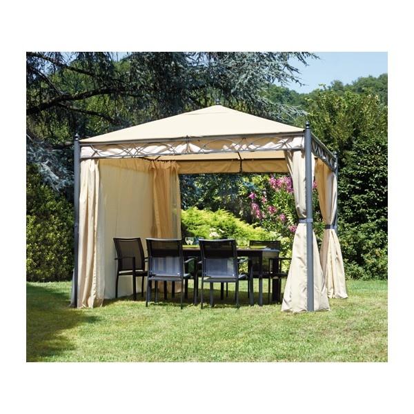 Gazebo 3x4 in ferro da giardino completo di tende laterali for Giardino rettangolare