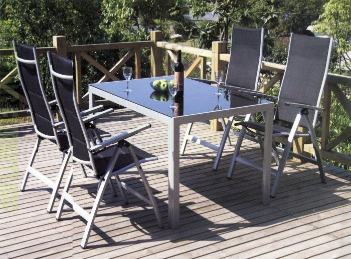 Set tavolo alluminio 160 x 90 con 4 sedie grigio for Arredo giardino alluminio