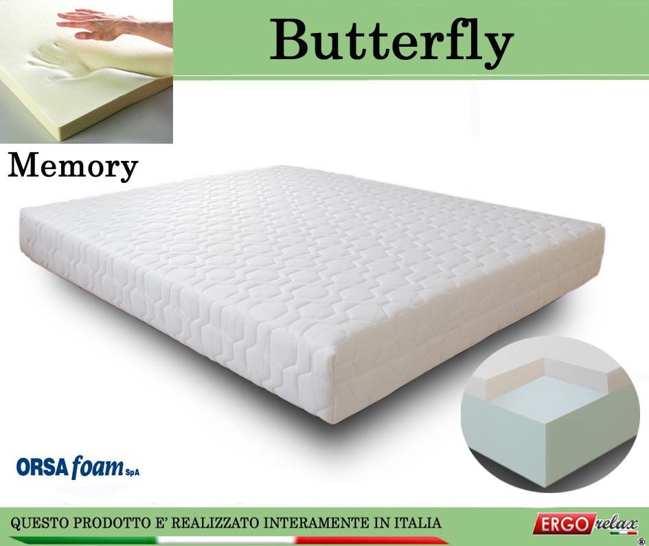 Materasso Memory Mod. Butterfly Singolo 80x195 Anallergico Sfoderabile Altezza Cm. 21 - Ergorelax