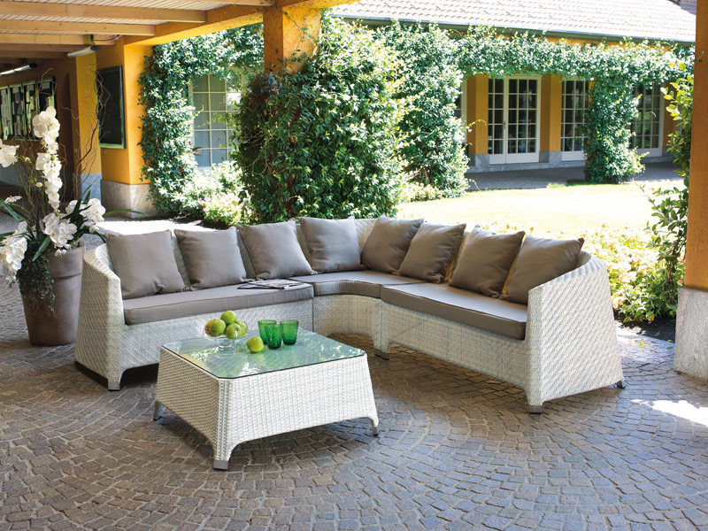Salottino professionale rattan coffee set djerba divano 2 for Arredo giardino bianco